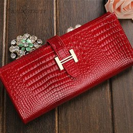 Wholesale Genuine Leather Women Wallet Purse Alligator Cowhide Money Bag Fashion Coins Holder Brand Design portfolio female Clutch