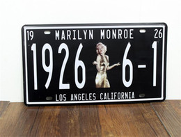 Wholesale Classic Marilyn Monroe Los Angeles Embossed Metal Tin Sign License Plate Home Bar Pub Cafe Wall Decor Art Poster Plaque