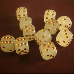 Wholesale New sided mm with gold pips Noctilucent dice for boardgame and night Bar KTV and other games accessories