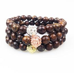 SN0361 High Quality Gold Rose Gold Silver Plated Lion Bracelet Fashion Bronzite Men Bracelet Stone Beaded Stretch Bracelet