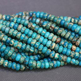 Jasper Natural Stone 5x8mm Aqua Blue Gemstone Emperor Imperial Jasper Beads Round Smooth Beads Wholesale Price Women Necklace Making Jewelry