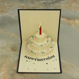 3 Items per Lot 3D POP UP Handmade Birthday  Gift  Greeting Card with Cake, Flower & Candle Decoration