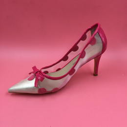 Pink Dot Women Dress Shoes Pointed Toe Thin Kitten Heel Pumps Bowtie Handamde Sexy High Heels Blue Dress Shoes Black   Pink 3 Colors