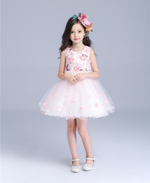 Girl Wedding Dress with Flower Embroidery Sleeveless Party Dresses Girls' Knee Length Dresses Kids Fashion Vest Dress Vestido