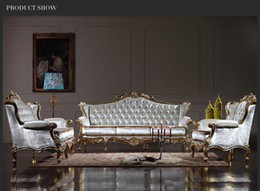 Wholesale Royalty Classic sofa set Baroque Style classic living room set European high end gold leaf gilding furniture