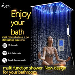 Wholesale Luxury Way Thermostatic Digital Shower Mixer Bathroom Accessories mm Ceiling Rain Mist Shower Head Set LED Faucet