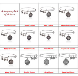 Wholesale 12 constellation Alex and Ani bracelets Ancient gold silver Horoscope Zodiac signs charm bracelets bangle cuff for women jewelry