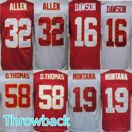 Wholesale Throwback Chiefs Marcus Allen Len Dawson Derrick Thomas Joe Montana Men Football Jerseys Welcome Orders red white
