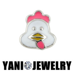 Wholesale DIY Alloy Cute Chicken Hen Floating Lockets Charms Animal Charms for Bracelet Living Glass Locket Necklaces