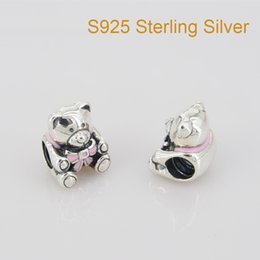 Fits Pandora Bracelet&Charms BABY GIRL TEDDY BEAR CHARM DIY Beads Solid 925 Silver Not Plated