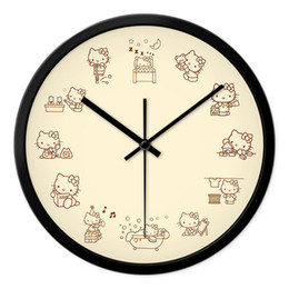 Wholesale Hello Kitty pink girls bedroom wall clock children room quiet personality art restoring ancient ways quartz clock wall world