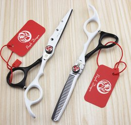 Wholesale quot Top Quality Human Hair Scissors Professional Beautiful Styling Tool Black White Shears with Smooth Handle Purple Dragon JP440C Teeth