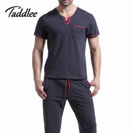 Wholesale Men T Shirt Cotton Pajama Set Sleepwear Sleep Bottoms Yoga Long Pants Pajama Tees Undershirts Tshirts Brand Casual Short Sleeve