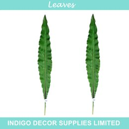 Wholesale Long Size Green Leaves Orchid Leaf Flower Arrangement Leaves Green Table Decoration Artificial Branches Greenery
