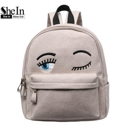 Wholesale SheIn Hot Sale Women Fashion New Arrival Cheap Online Shops Bags Eyes Pattern PU Cute Backpack