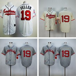 Wholesale Top Quality Top Sale Cleveland Indians Throwback Jerseys bob feller Cream Jerseys Camo Double Stithed Original Baseball Jerseys Shirt