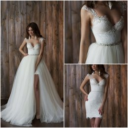 Wholesale 2017 Princess Detachable A line Long Short Wedding Dress in with Queen Anne Neckline Beaded Lace Crystal Sash Backless Sweep Tull Train