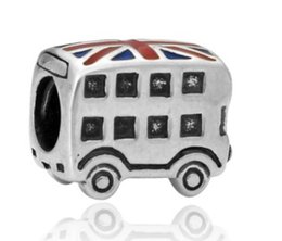 Wholesale British Flag Bus Charm Beads Sterling Silve European Charms Bead Fit Pandora Snake Chain Bracelet Fashion DIY Jewelry