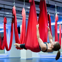 Wholesale 5M Top Quality Yoga Hammock Balance Fabric Network Flying Device Air Traction Of Antigravity Yoga Pilates Hammock Equipments