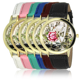 2016 Fashion Simple Leather Band Watches for Woman Floral Print Dial Casual Watch for Woman Analog Mens Quartz Unisex Watch