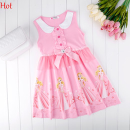 New Dresses 2016 Cute Sleeveless Girls Doll Collar Princess Dress Character Pattern Bow Hot Splicing Casual Knee Dress Clothing SV015706