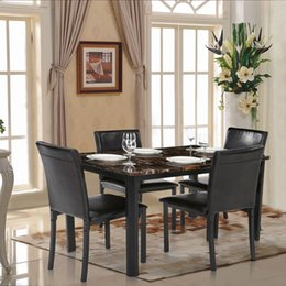 Wholesale IKAYAA Modern Kitchen Dining Room Table Chair Set for Person Beautiful Marble like Top Max kg Load Capacity US STOCK H16906