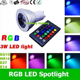 Wholesale 2016 Best RGB led spotlight W E27 E26 GU10 MR16 LED Bulbs V V Led Spotlights Colors Change IR Remote Controller