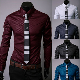 Wholesale Men s Clothes Obscure Twill Slim Business Casual Shirts Long sleeved Cotton Blended Mens Shirt Upper Garments