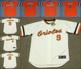 Wholesale Men CAL RIPKEN Jr REGGIE JACKSON Baltimore Orioles Throwback Home orange white Baseball Jersey stitched