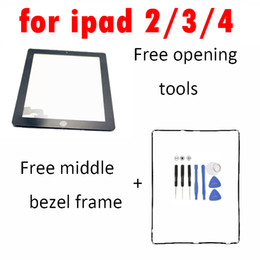 Touch Screen Glass Digitizer Assembly Replacement for Apple iPad 2 iPad 3 iPad 4 with home button + adhesive white black 10PCS Lot