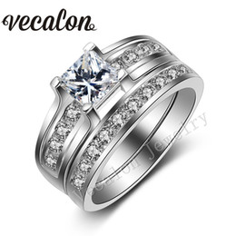 Vecalon Engagement wedding ring Set for women Platinum Plated 1ct Simulated diamond Cz 925 Sterling Silver Female Band ring R104