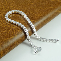 High quality Fashion charm Jewelry 925 Sterling Silver Bracelets For Women Box Chain Bracelets Free shipping