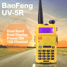 Wholesale-BAOFENG UV-5R Walkie Talkie Dual Band Radio Yellow 136-174Mhz & 400-520Mhz Baofeng UV5R handheld Two Way Radio