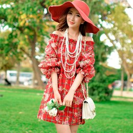 Dabuwaw Lady Sweet Long Lantern Sleeve Slash Neck Floral Printed Red Plaid Dress