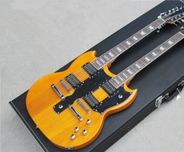 Two-neck 12-string and 6-string Electric Guitar,Transparent Yellow Body,Black Pickguard,Not Include Case,Can be changed