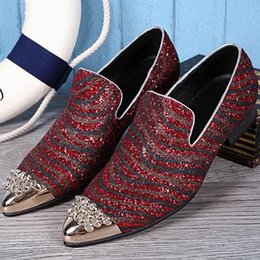Luxury Mens Business Leisure Leather Shoes Fashion Designer Pointed Toe Rhinestone Charm Slip On Flat Shoes For Mens 38-46