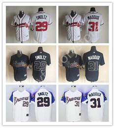 Wholesale 2016 Cheap Atlanta Braves Jerseys John Smoltz Men s sports MLB Baseball jerseys for sale Greg Maddux Jerseys Cool Base Elite Stitched