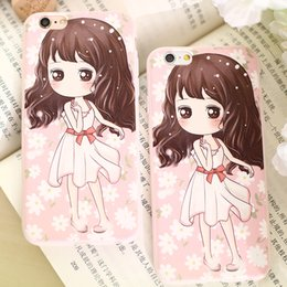 Wholesale window iphone case pouch Three relief art following from anime girl very like mobile cover