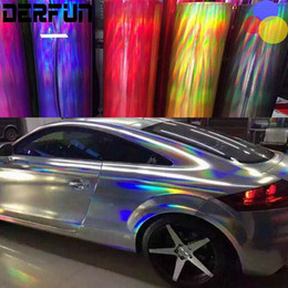 Wholesale Best Quality Layers Chrome Holographic Vinyl Wrapping Rainbow Laser Vinyl Film Bubble Free Car Sticker Size M ft