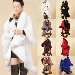 Nice Winter Ladies Coats Long Poncho Faux Fur Big Yards Knitting Wool Cashmere Cardigan Shawls Cloak Female Faux Fox Fur Coats for Women