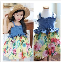 Wholesale 2016 Korean Style Summer Children Girls Jeans Dress Best Designed Top Quality New Arrival Beautiful Material