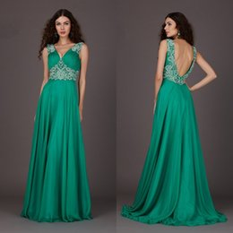 New Arrival A Line V Neck Floor Length Chiffon Backless Prom Dresses With Crystal Beaded Custom Made Evening Party Dresses