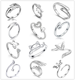 925 Sterling Silver Plated Rings Dolphins Dragonfly Wings Of The Angel Love Fox Butterfly Opening Adjustable Ring For Women