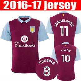 Wholesale Top Thailand Quality Aston Villa Soccer Jerseys Home red Maillot de foot men Short sleeve football shirts