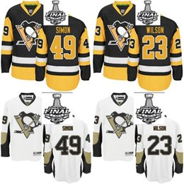 Wholesale Pittsburgh Penguins Dominik Simon Scott Wilson Men Women Youth Black White Stanley Cup Final Bound Custom Jerseys