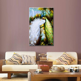 Wholesale One Picture Combination Animal Canvas Print RePro White and Green Peacocks The Picture For Home and Office Decoration