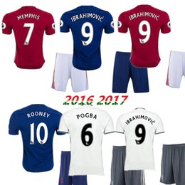 Wholesale Best thai quality MancHESTER kit IBRAHIMOVIC Pogba Rugby jerseys AWAY BLUE ROONEY MEMPHIS MARTIAL unITED ball SHIRT
