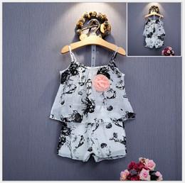 Wholesale 2016 New Girls Flower Sleeveless Vest Tank Tops Shorts Set Kids Clothing Sets Children Outfits Lovely Girl Suit cm sets