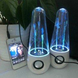 Wholesale Dancing Water Speakers USB LED Light Lamp Portable Mini Speakers Water drop Music Soundbox For MP3 MP4 Mobile Phone Computers