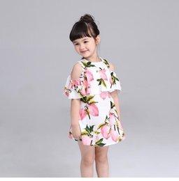 Wholesale 2016 fold cotton short sleeved lemon fruit pattern princess dress Girl strapless dance performances casual dress BH2359